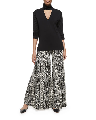 Marla Cutout Turtleneck Top & Printed Wide-Leg Trousers