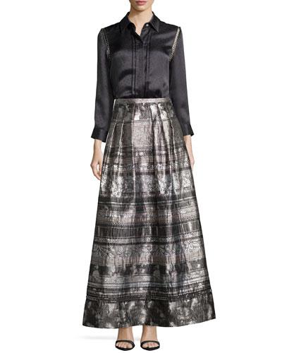 Dot Jacquard Silk Top & Jacquard Mixed-Media Full Skirt