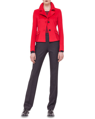 Double-Flap Pocket Blazer, Striped Contrast-Trimmed Sweater & Slim-Leg Contrast-Trim Pants