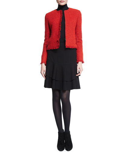 Boucle Fringe-Trimmed Jacket, Modal Jersey Turtleneck Top & Layered Flounce-Hem Skirt