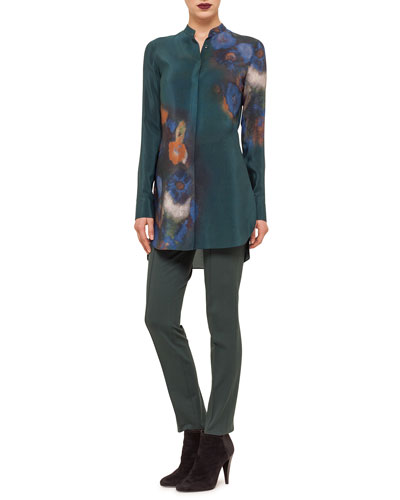 Floral-Print Button Tunic & Mara Seamed Skinny Jersey Pants