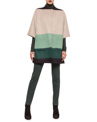 Colorblock Striped Patch-Pocket Cape, Modal Jersey Mock-Neck Top & Mara Seamed Skinny Jersey Pants