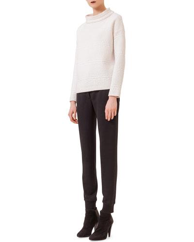 Long-Sleeve Embossed Sweatshirt & Jersey Tapered Ankle Pants