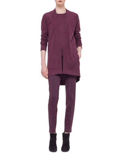 Long-Sleeve Open-Front Cardigan, Cap-Sleeve Round-Neck Top & Mara Seamed Skinny Jersey Pants