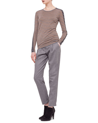 Striped Contrast-Trimmed Sweater & Smocked-Cuff Pleated Ankle Pants