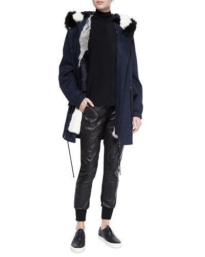 Fur-Lined Hooded Parka, Long-Sleeve Skinny-Rib Sweater & Leather Belted Jogger Pants