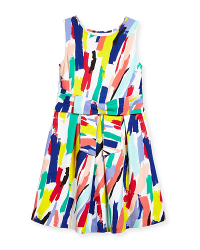 jillian a-line brushstroke dress, white/multicolor