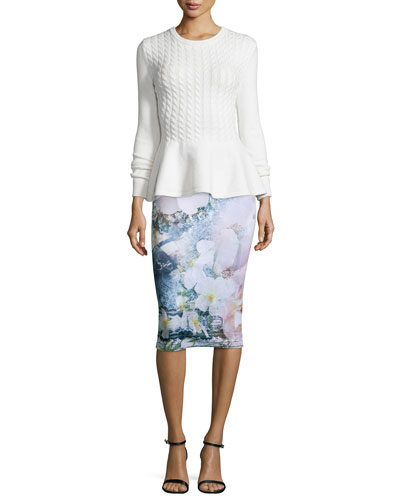 Mereda Cable-Knit Peplum Sweater & Sinda Tile-Floral-Print Midi Pencil Skirt