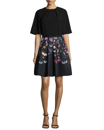 Sydelle Half-Sleeve Top & Deniva Shadow-Floral Full Skirt