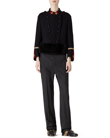 Gucci Cropped Wool Felt Jacket With Mink