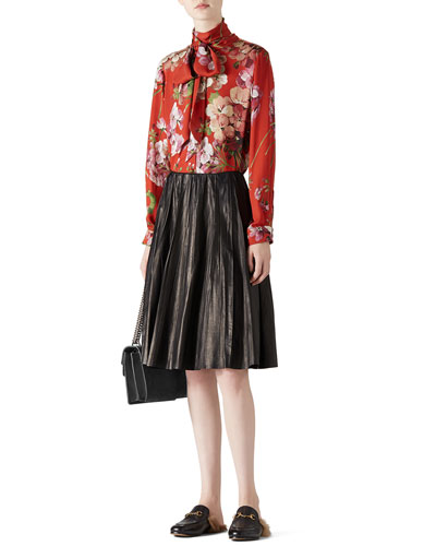 Geranium Print Silk Button-Down Shirt & Creased Leather Skirt
