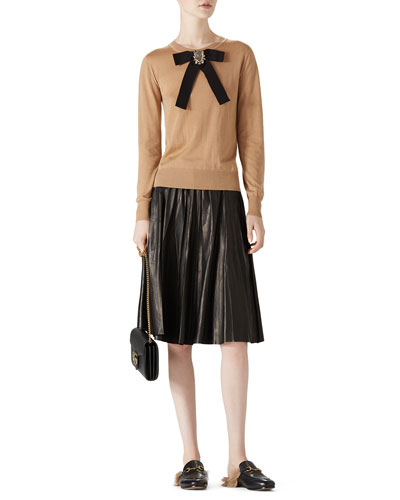Cashmere Silk Knit Top & Creased Leather Skirt