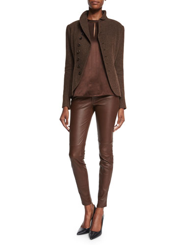 Long-Sleeve Horn-Button Jacket, Addie Sleeveless Keyhole Blouse & Stretch-Leather Skinny Pants