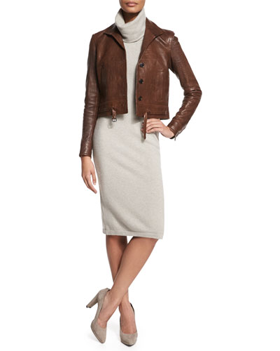 Crocodile-Embossed Leather Jacket & Cashmere Sweaterdress