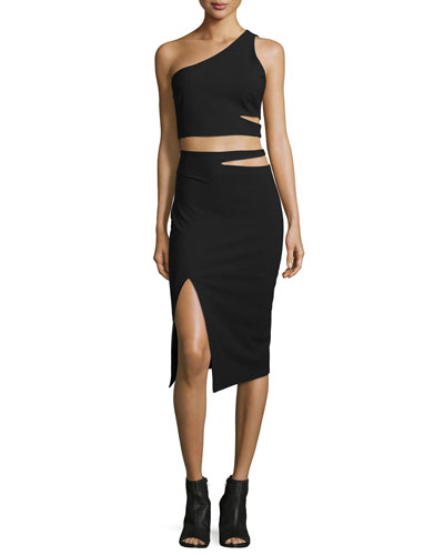 Perla One-Shoulder Cutout Top & Perla Cutout-Waist Pencil Skirt