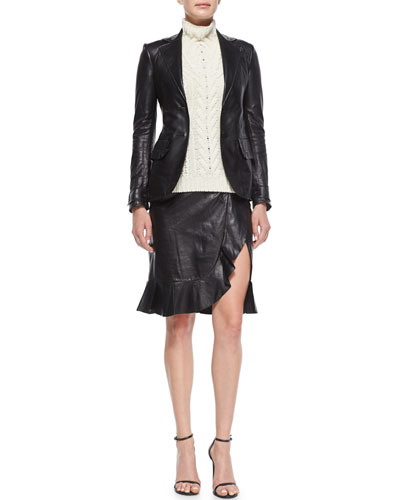 Ruffle-Pocket Leather Blazer, Sleeveless Cable-Knit Sweater & Leather Ruffle Peplum Slit Skirt