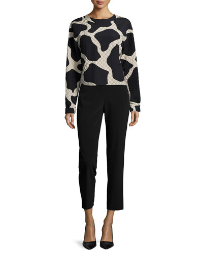 Long-Sleeve Giraffe-Print Top & Skinny Ankle Pants