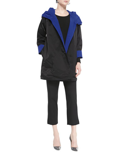 Eileen Fisher Reversible Hooded Rain Coat, Long-Sleeve Slim