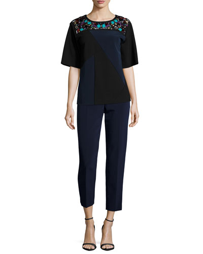 Short-Sleeve Colorblock Embellished Top & Side-Zip Skinny Pants
