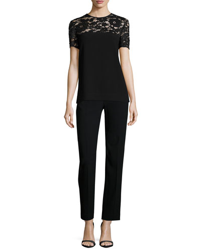 Short-Sleeve Lace-Yoke Top & Pants W/ Shiny Tuxedo Trim
