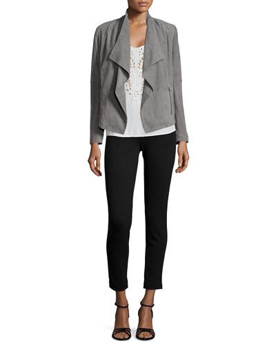 Olivine Drape-Front Suede Jacket & Kiefer Embroidered Silk Top