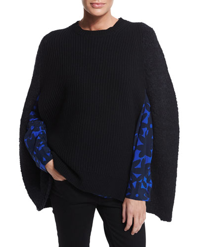 Ribbed-Front Cape with Boucle Back & Long-Sleeve Daisy-Print Shirt