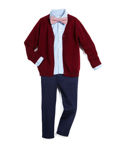 Wool-Blend V-Neck Cardigan, The Standard Striped Shirt, Skinny Stretch-Twill Pants & Polka-Dot Bow Tie