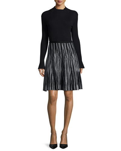 Mock-Neck Ribbed Pullover Top & Jacquard Brushstroke A-line Skirt