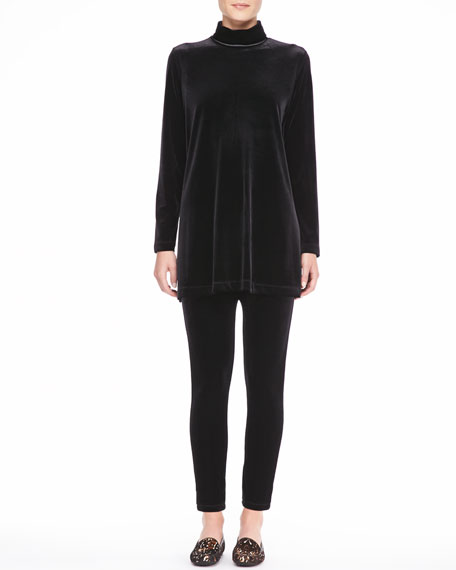 Velour Long-Sleeve Turtleneck Tunic, Plus Size