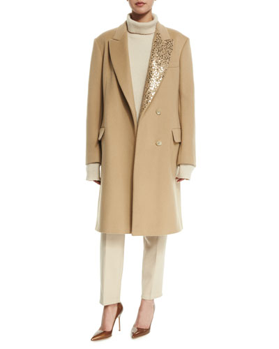 Long Wool-Blend Coat W/ Sequined Lapel, Extra Long-Sleeve Turtleneck & Narrow Twill Pants