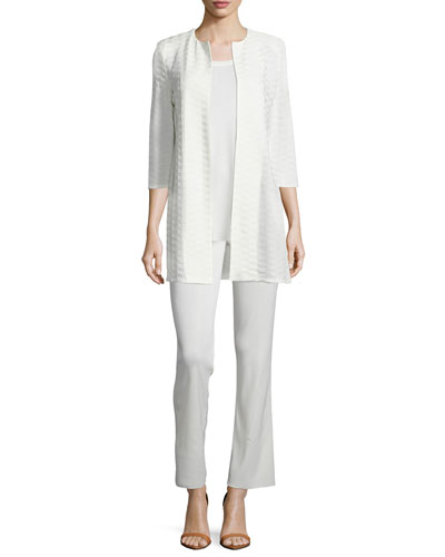 Textured Long Open Jacket, Cathy Crewneck Tank & Casey Boot-Cut Knit Pants, Women