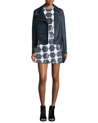 Belted Leather Biker Jacket & Geo-Sequined Party Dress