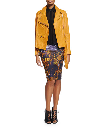 Classic Lambskin Biker Jacket, Volume Sleeveless Shirt & Snake-Print Contour Pencil Skirt