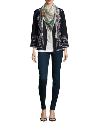 Everly Embroidered Pouch-Pocket Pea Coat & Jace Printed Silk Scarf, Women