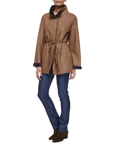 Twin-Face Herringbone Shearling Fur Jacket & Sparkle Slim-Leg Classic Jeans