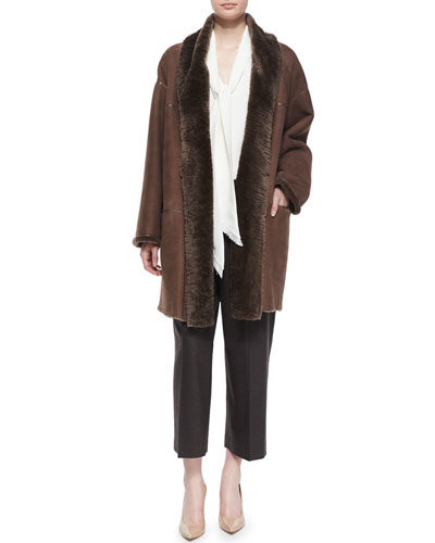Smith Topper W/ Fur, Charlie Sleeveless Scarf-Neck Blouse & Cropped Straight-Leg Pants