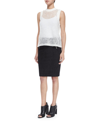 Sheer Crinkled Muscle Tee & Scuba Zip Pencil Skirt