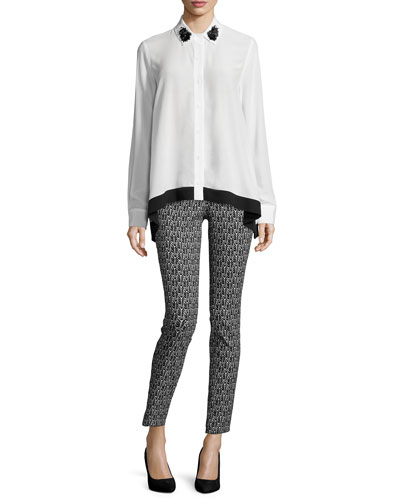 Gemma Long-Sleeve Blouse & Floral-Print Skinny Pants