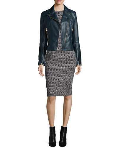 Willo Leather Moto Jacket with Fringe Cuffs & Emily Cap-Sleeve Printed Sheath Cocktail Dress