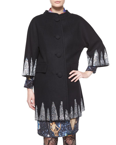 Shark Attack Embellished Coat & Airways Front-Tie Blouse