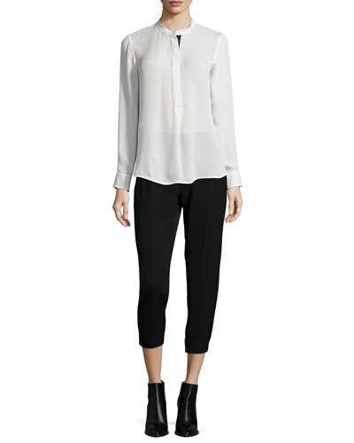 Long-Sleeve Color-Tipped Blouse & Relaxed Trousers W/Satin Piping