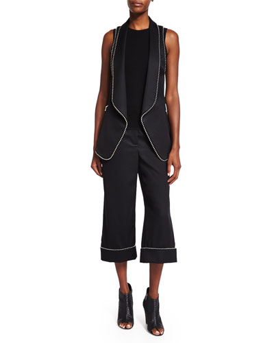 Ball/Chain Long Vest, Sleeveless Sweater & Wide-Leg Cropped Pants, Black