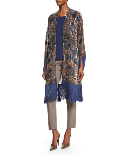 3/4-Sleeve Burnout Kimono W/Fringe, Scoop-Neck Tank & Billy Ankle Pants