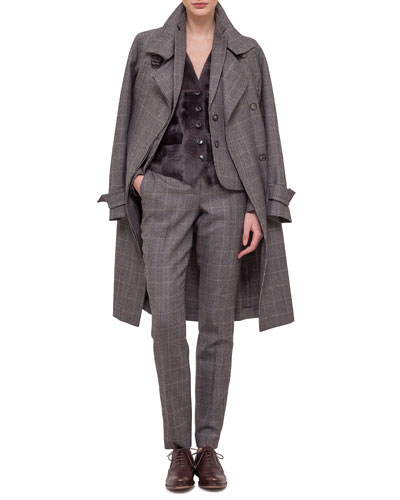 Long-Sleeve Check Trenchcoat, Fine Windowpane Check Cashmere-Blend Blazer, Sleeveless Button-Down Combo Gilet & Frank Check Slim-Leg Pants