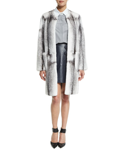 Mink Fur Long Coat, Long-Sleeve Button-Front Shirt & A-Line Leather Mini Wrap Skirt