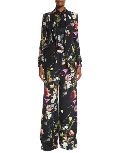 Floral-Print Twill Jacket, Floral-Print Silk Button-Up Blouse & Floral-Print Wide-Leg Pants