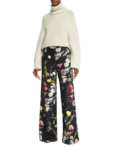 Lantern-Sleeve Turtleneck Sweater & Floral-Print Wide-Leg Pants