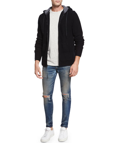 Dax Full-Zip Wool Hoodie, Tweed-Print Short-Sleeve Tee & Waterloo Distressed Skinny Jeans