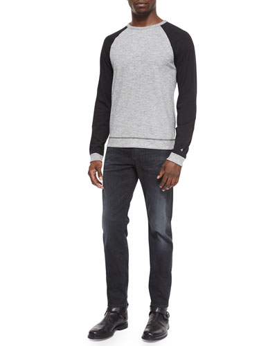 Raglan Long-Sleeve Sweater & Slim-Fit Faded Denim Jeans