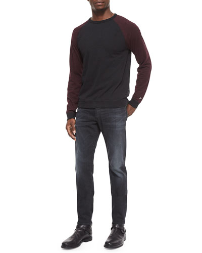 Raglan Long-Sleeve Shirt & Slim-Fit Faded Denim Jeans